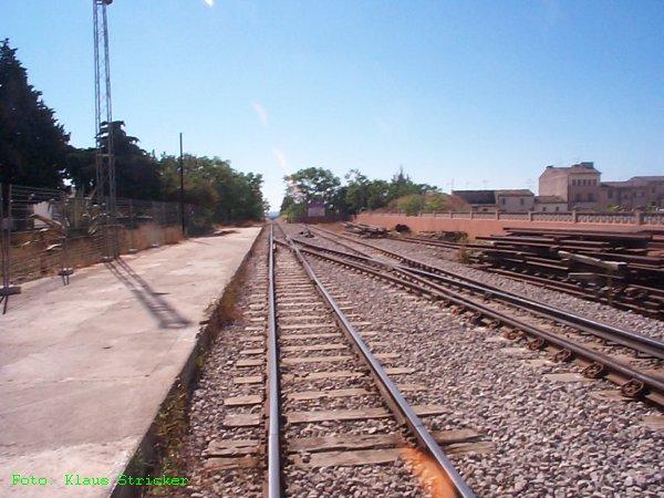 Der Blick Richtung Sa Pobla, li. Richtungsgleis Palma