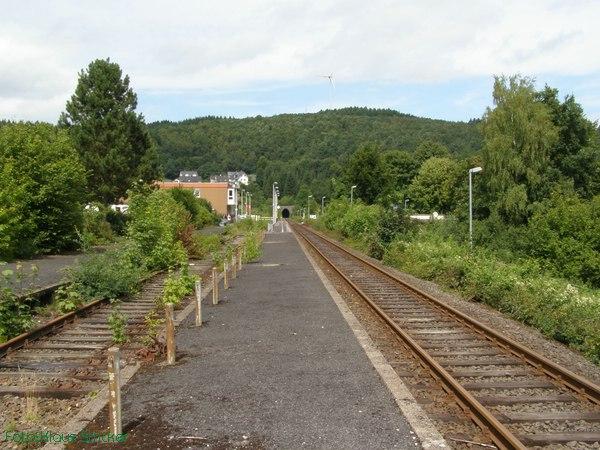 Blick vie vor: links der Hausbahnsteig und Reste des Kreuzungsgleises.