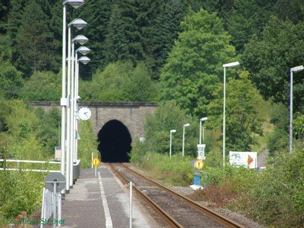 Blick Richtung Attendorn, durch das blaue Gitterlinks sieht man, wo der Fußgängertunnel vom Bahnhofsgelände zur Schiffanlegestelle liegt.