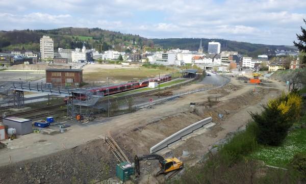 Gummersbach, Übersicht über Bahnhof und Baustelle